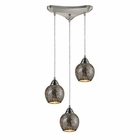 ELK Fission 3-Light Silver Pendant in Satin Nickel EK-10208-3SLV