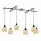 ELK Fission 6-Light Cloud Pendant in Satin Nickel EK-10208-6CLD