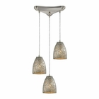 ELK Fissure 3 Light Pendant in Satin Nickel EK-10465-3SVF