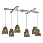 ELK Fissure 6 Light Pendant in Satin Nickel EK-10465-6BRF