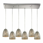 ELK Fissure 6 Light Pendant in Satin Nickel EK-10465-6RC-SVF