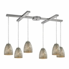 ELK Fissure 6 Light Pendant in Satin Nickel EK-10465-6SVF