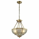 ELK French Damask Collection 3 Light Pendant in Brushed Brass EK-22006-3
