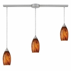 ELK Galaxy 3-Light Pendant in Brown and Satin Nickel Finish EK-20001-3L-BG