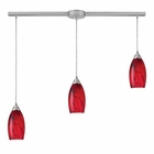 ELK Galaxy 3-Light Pendant in Red and Satin Nickel Finish EK-20001-3L-RG