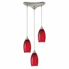 ELK Galaxy 3-Light Pendant in Red and Satin Nickel Finish EK-20001-3RG