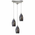 ELK Galaxy 3-Light Pendant in Smoke and Satin Nickel Finish EK-20001-3SG