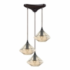 ELK Geometrics 3 Light Pendant in Oil Rubbed Bronze EK-10450-3