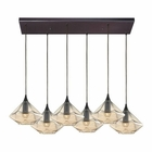ELK Geometrics 6 Light Pendant in Oil Rubbed Bronze EK-10450-6RC