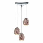 ELK Glass Mosaic 3 Light Pendant in Polished Chrome EK-10429-3