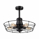 ELK Glendora 5 Light Semi Flush in Wrought Iron Black EK-14259-5