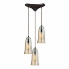 ELK Hammered Glass 3 Light Pendant in Oil Rubbed Bronze EK-10431-3HAMP