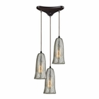 ELK Hammered Glass 3 Light Pendant in Oil Rubbed Bronze EK-10431-3HME