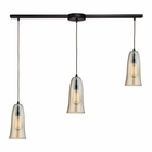 ELK Hammered Glass 3 Light Pendant in Oil Rubbed Bronze EK-10431-3L-HAMP
