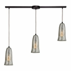 ELK Hammered Glass 3 Light Pendant in Oil Rubbed Bronze EK-10431-3L-HME