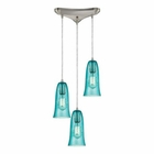 ELK Hammered Glass 3 Light Pendant in Satin Nickel EK-10431-3HAQ