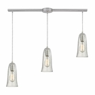 ELK Hammered Glass 3 Light Pendant in Satin Nickel EK-10431-3L-CLR