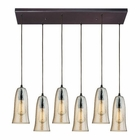 ELK Hammered Glass 6 Light Pendant in Oil Rubbed Bronze EK-10431-6RC-HAMP