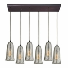 ELK Hammered Glass 6 Light Pendant in Oil Rubbed Bronze EK-10431-6RC-HME