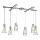ELK Hammered Glass 6 Light Pendant in Satin Nickel EK-10431-6CLR