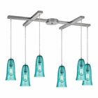 ELK Hammered Glass 6 Light Pendant in Satin Nickel EK-10431-6HAQ