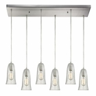 ELK Hammered Glass 6 Light Pendant in Satin Nickel EK-10431-6RC-CLR