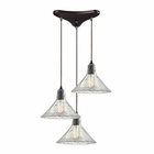 ELK Hand Formed Glass 3 Light Pendant in Oil Rubbed Bronze EK-10435-3