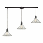 ELK Hand Formed Glass 3 Light Pendant in Oil Rubbed Bronze EK-10435-3L