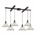 ELK Hand Formed Glass 6 Light Pendant in Oil Rubbed Bronze EK-10435-6