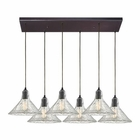 ELK Hand Formed Glass 6 Light Pendant in Oil Rubbed Bronze EK-10435-6RC