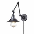 ELK insulator Glass  1 Light Swingarm Sconce in Weathered Zinc EK-66826-1