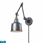 ELK insulator Glass  1 Light Swingarm Sconce in Weathered Zinc - Led EK-66825-1-LED