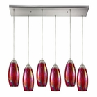 ELK Iridescence 6 Light Pendant in Satin Nickel EK-10076-6RC-FI