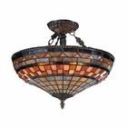 ELK Jewelstone 3-Light Semi Flush in Classic Bronze EK-614-CB