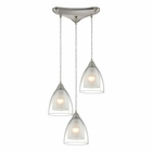 ELK Layers 3 Light Pendant in Satin Nickel EK-10464-3