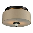 ELK Lilliana 2 Light Semi Flush in Cream and Aged Bronze EK-31371-2