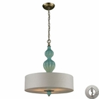 ELK Lilliana 3 Light Pendant in Seafoam and Aged Silver With Adapter Kit EK-31362-3-LA