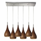 ELK Lindsey 6 Light Pendant in Burl Wood and Satin Nickel EK-31341-6RC-BW
