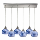 ELK Mela 6 Light Pendant in Satin Nickel EK-101-6RC-BL
