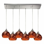 ELK Mela 6 Light Pendant in Satin Nickel EK-101-6RC-ES