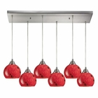 ELK Mela 6 Light Pendant in Satin Nickel EK-101-6RC-FR