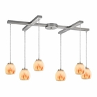 ELK Melony 6 Light Pendant in Satin Nickel EK-10421-6TS