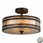 ELK Mica Filigree 2-Light Semi Flush in Tiffany Bronze With Adapter Kit EK-70065-2-LA