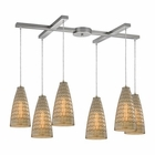 ELK Mickley 6 Light Pendant in Satin Nickel EK-10249-6