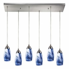 ELK Milan 6 Light Pendant in Satin Nickel EK-110-6RC-MT