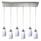 ELK Milan 6 Light Pendant in Satin Nickel EK-110-6RC-WH