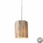 ELK Modern Organics-1-Light Pendant in Bamboo Stem Material in Polished Chrome With Adapter Kit EK-19061-1-LA