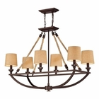 ELK Natural Rope 6 Light Chandelier in Aged Bronze EK-63019-6