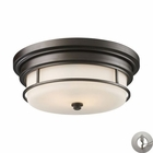 ELK Newfield 2-Light Flush Mount in Oiled Bronze With Adapter Kit EK-66254-2-LA