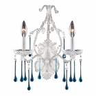 ELK Opulence Collection - 2 Light Wall Bracket Aqua Crystal Antique White Frame EK-4000-2AQ